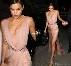 irina shayk celebrity dresses v neck side split beaded