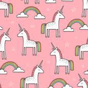 Cute Unicorn Rainbow In Pink