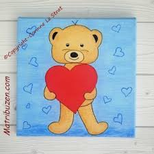 tableau ourson chambre bébé tableau enfant bébé nounours ourson coeur déco murale chambre d enfant