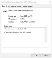 fix for prolific usb to serial rj45 ethernet code 10 error