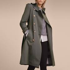 tropical gabardine trench coat with ruffle detail in storm blue