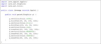 Java Color SetColor FillOval DrawOval