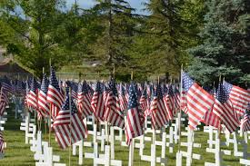 Memorial Day Graveside Decorations by Cemetery Orem