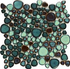 green porcelain pebble tile shaped mosaic glazed wall tiles