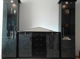 wohnzimmer schrankwand wohnwand mit spiegel und beleuchtung