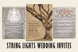 String Lights Wedding Invitations Rustic Burlap