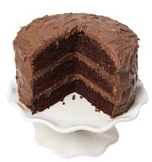 Chocolate cake with piece take out on white background
