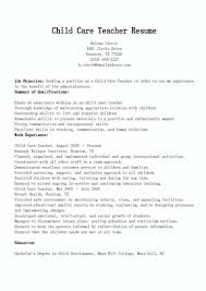 Daycare Resume Objective Teaching