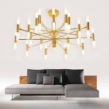 led deckenleuchte stilvoll aus metall in schwarz gold für wohnzimmer