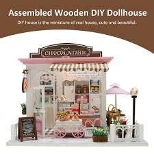 Wooden DIY Dollhouse Miniature Furniture Kit LED Light Assembled