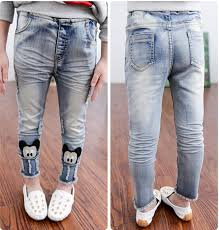 Cartoon Skinny Jeans 2015 Latest Han Edition Girl Pants Light Blue Fashion Leisure Autumn Tight In From Mother Kids On