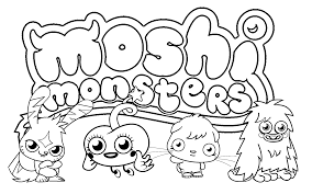 Monster Coloring Pages Free Printable Moshi For Kids Online