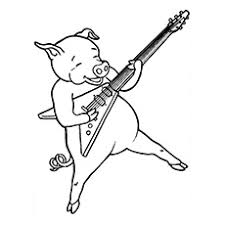 Rock Star Pig Funny Butcher Carrying Load Coloring Page