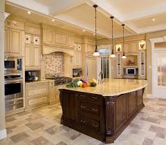 Elegant Neutral Colored Kitchen Floor Tile Designs In A With Antique White Vintage Cabinets