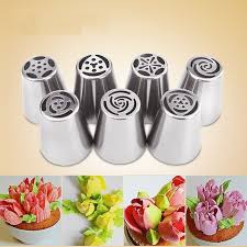 7PCS Stainless Steel Russian Tulip Icing Piping Nozzles Pastry Decorating Tips Cake Cupcake Decorator Rose Kitchen