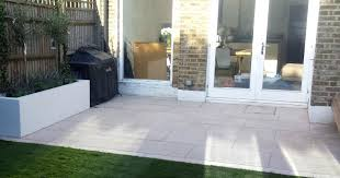 Grey Limestone Patio Paving Raised Beds Floating Hardwood