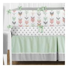 sweet jojo designs mod arrow in grey coral and mint 9 piece crib