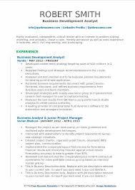 Business Development Analyst Resume Sample