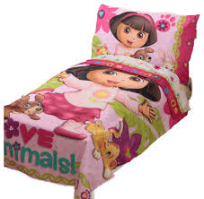 dora explorer toddler bedding set love animals bed contemporary