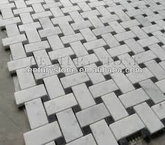 white carrara marble italian bianco basketweave mosaic