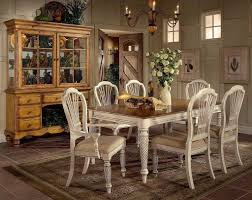 Dining Room White Vintage Rustic Table And Chairs With Hutch