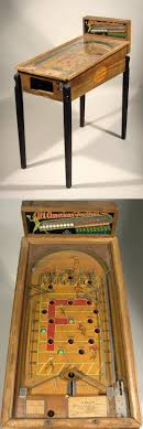 All American Football Coin Operated Pinball Machine Vintage Wooden Cased Features Painted Graphics On The Interior Playing Field