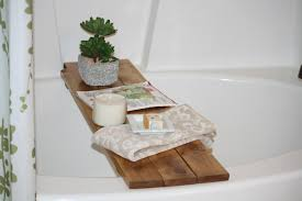 Bath Caddy With Reading Rack Australia by Bathroom Yellow Bathtub Caddy With Candle And Book For Cozy