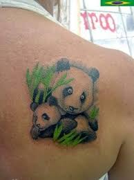 Unique Mother Panda And Baby Tattoo