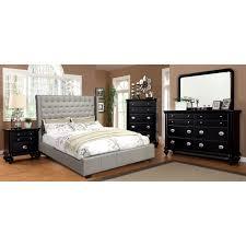 furniture of america shanns upholstered platform bed silver