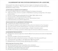 Leadership Volunteer Resume Template Examples With Experience