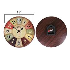 NALAKUVARA 12 Inch Retro Wooden Wall Clock Farmhouse Decor Silent Non Ticking Clocks Large Decorative Big Wood Atomic Analog Battery Operated
