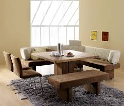 Contemporary Dining Room Design With Square Wooden Table Corner Bench Seat