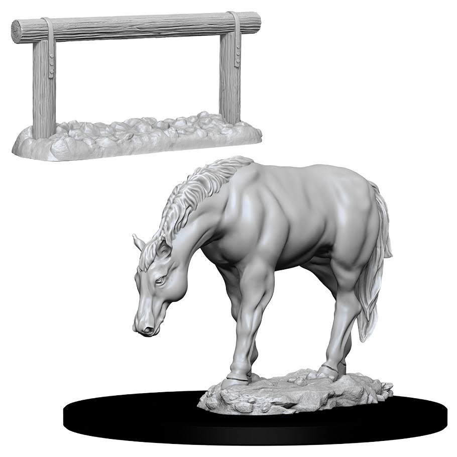 Wizkids Deep Cuts Unpainted Miniatures - Horse and Hitch