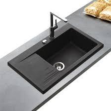 évier granit noir kümbad pepino 1bac 1 égouttoir pour la cuisine