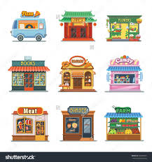 Pizza Store Drawing Awesome Set Nice Showcases Shops Trailer Bakery Candy