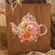 esszimmer wanddekoration aus holz teekanne zartbemalt