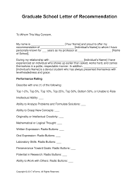 Free Graduate School Letter of Re mendation Template with