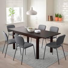 laneberg karljan tisch und 4 stühle braun dunkelgrau dunkelgrau 130 190x80 cm