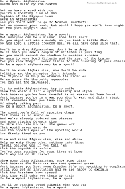 Be A Sport Afghanistan by Tom Paxton lyrics