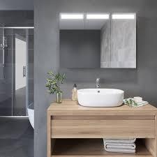 badezimmer led spiegelschrank mit beleuchtung 3 türig