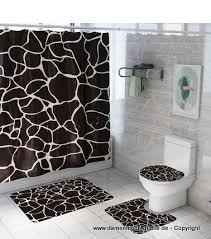 badezimmer set 4 stück duschvorhang mit teppich