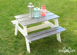 DIY Kids Picnic Table - Step-by-Step Guide - Tinsel & Wheat | DIY ... Pnic Table Designs 2167 Accessible Pnic Table With Seats Fniture Alluring Ding Room And Bench Sets Chairs Walnut Ana White Pottery Barn Rustic Dinner Grey Home Design Excellent Indoor Large Reclaimed Oak Monastery Mobius Living Outdoor Made Kee Klamp Pipe Fittings Tables Amazing Nadeau Nashville Console Top Diy Rectangle With Umbrella Detached Patio Ideas Oversized Cushions Magnificent