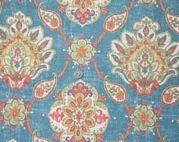 Upholstery Fabric By The Yard Blue Bohemian Suzani Cotton Linen Rayon Modern Drapery Ikat With Orange Green Gold DESTASH