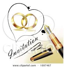 3d Fountain Pen Drawing A Heart Outline Around Wedding Rings And Invitation Text A Page