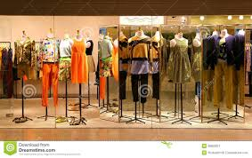 Fashion Boutique Display Window With Mannequins Go Shopping Dress Shop Stock Image