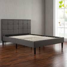 King Platform Bed With Upholstered Headboard by Greenhome123 Grey Upholstered Platform Bed Frame With Wooden Slats