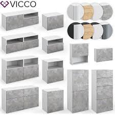 vicco wohnwand 5er set compo lowboard sideboard schrank regal weiß beton