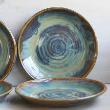 Ceramic Dinnerware Dishes Rustic Water Color Glaze Handmade Set Of Four Stoneware Plates Green And