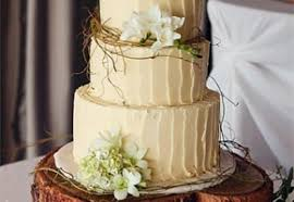 Woodland Wedding Cake In Ivory With A Wooden Stump Stand