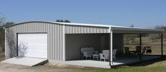 Texas steel building with lean to roof over concrete